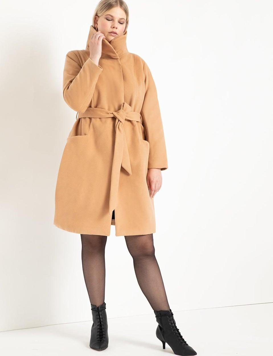 "<br><br><strong>Eloquii</strong> Funnel Neck Coat, $, available at <a href=""https://go.skimresources.com/?id=30283X879131&url=https%3A%2F%2Fwww.eloquii.com%2Ffunnel-neck-coat%2F1258125.html"" rel=""nofollow noopener"" target=""_blank"" data-ylk=""slk:Eloquii"" class=""link rapid-noclick-resp"">Eloquii</a>"
