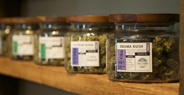 "Marijuana-based products are displayed at the ""Oregon's Finest"" medical marijuana dispensary in Portland, Oregon in this April 8, 2014 file photo. Advocates of legal marijuana in Oregon have gathered more than the required number of signatures to get a measure on the November ballot that would permit recreational use of the drug by adults, organizers said on June 17, 2014. REUTERS/Steve Dipaola/Files (UNITED STATES - Tags: DRUGS SOCIETY POLITICS HEALTH)"