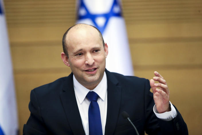 FILE - In this June 13, 2021, file photo Israel's new prime minister Naftali Bennett holds a first cabinet meeting in Jerusalem. How President Joe Biden and Prime Minister Naftali Bennett manage that relationship will shape the prospects for peace and stability in the Middle East. They are ushering in an era no longer shaped by the powerful personality of Prime Minister Benjamin Netayahu, who repeatedly defied the Obama administration, and then reaped the rewards of a warm relationship with President Donald Trump. (AP Photo/Ariel Schalit, File)