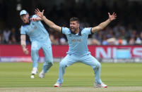Mark Wood appeals successfully for the wicket of New Zealand's Ross Taylor. (AP Photo/Aijaz Rahi)