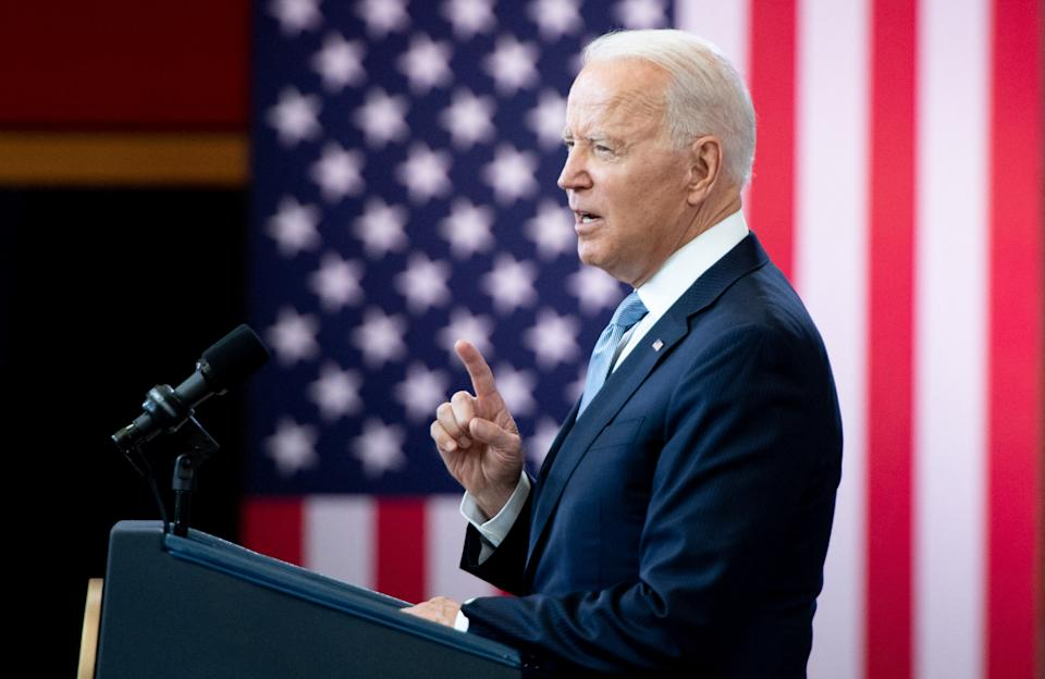 US President Joe Biden speaks about voting rights at the National Constitution Center in Philadelphia, Pennsylvania, July 13, 2021. (Photo by SAUL LOEB / AFP) (Photo by SAUL LOEB/AFP via Getty Images)