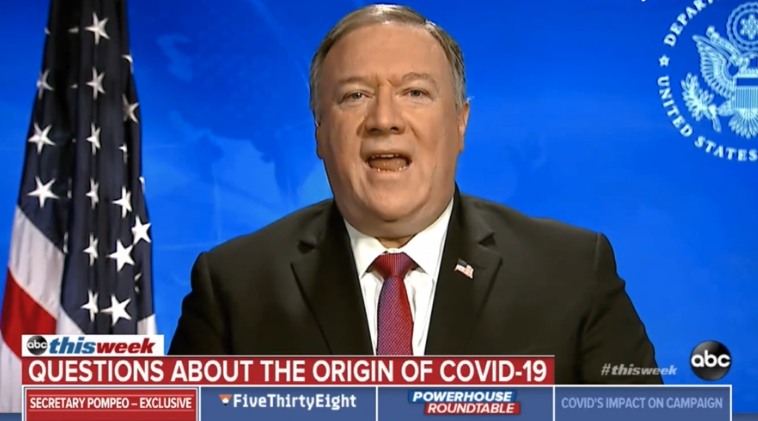 """US Secretary of State Mike Pompeo told the US's ABC there is """"substantial"""" evidence coronavirus began inside a Wuhan lab. Source: ABC"""