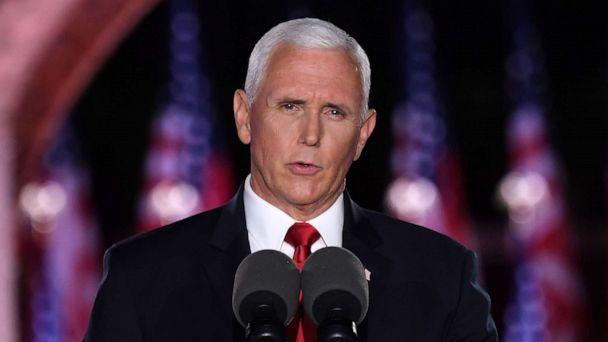 PHOTO: Vice President Mike Pence speaks during the third night of the Republican National Convention at Fort McHenry National Monument in Baltimore, Aug. 26, 2020. (Saul Loeb/AFP via Getty Images)