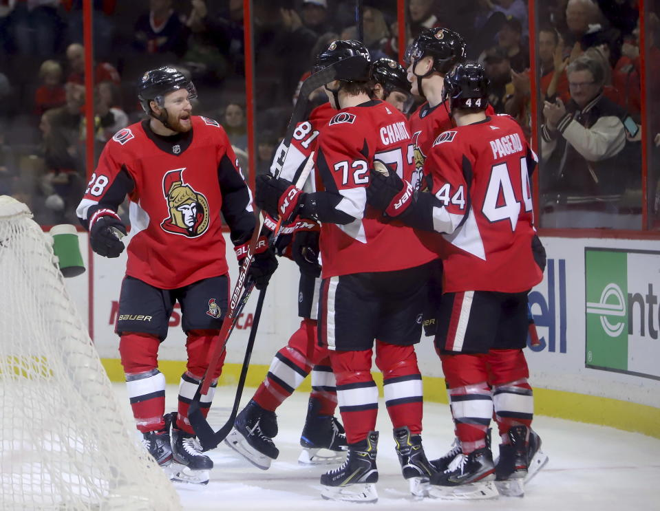 Ottawa Senators right wing Connor Brown (28) celebrates his goal with teammates during the second of an NHL hockey game against the Columbus Blue Jackets in Ottawa, Saturday, Dec. 14, 2019. (Fred Chartrand/The Canadian Press via AP)