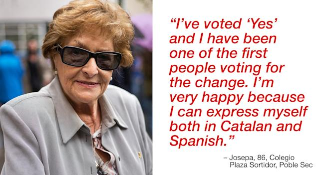 """<p>""""I've voted 'Yes' and I have been one of the first people voting for the change. I'm very happy because I can express myself both in Catalan and Spanish."""" (Photograph by Jose Colon/ MeMo for Yahoo News) </p>"""