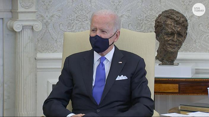 """President Joe Biden said it's a """"big mistake"""" for states to lift pandemic restrictions and mask mandates."""
