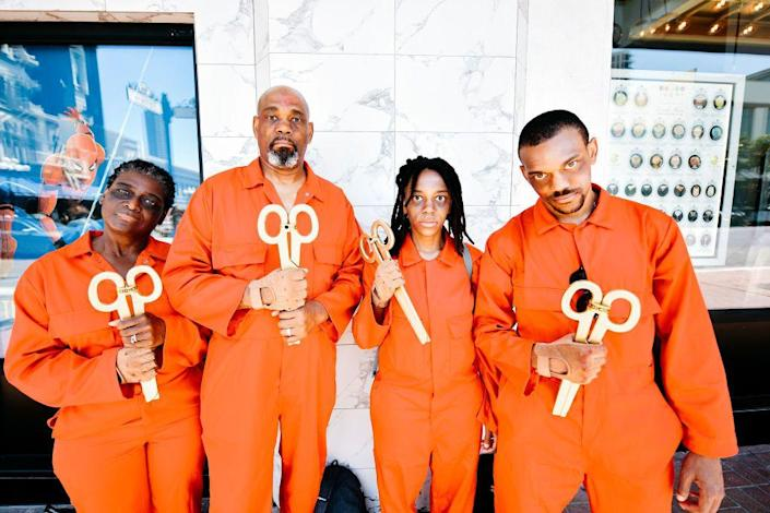 """<p>Want to really freak people out? Dress up as the Tethered from Jordan Peele's <em>Us</em>. All you need is an orange jumpsuit and some giant scissors. </p><p><a class=""""link rapid-noclick-resp"""" href=""""https://www.amazon.com/Red-Kap-Action-Coverall-Orange/dp/B007EYYW5E?tag=syn-yahoo-20&ascsubtag=%5Bartid%7C10070.g.3083%5Bsrc%7Cyahoo-us"""" rel=""""nofollow noopener"""" target=""""_blank"""" data-ylk=""""slk:SHOP ORANGE JUMPSUITS"""">SHOP ORANGE JUMPSUITS</a></p>"""