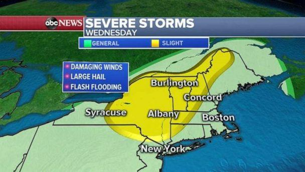 PHOTO: Severe storms are expected in the Northeast by Wednesday. (ABC News)