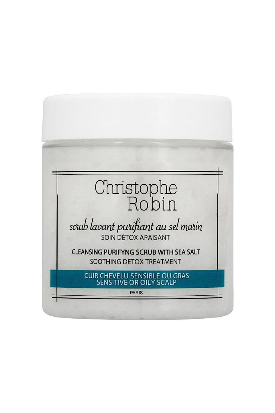 """<p><strong>Christophe Robin</strong></p><p>sephora.com</p><p><strong>$19.00</strong></p><p><a href=""""https://go.redirectingat.com?id=74968X1596630&url=https%3A%2F%2Fwww.sephora.com%2Fproduct%2Fcleansing-purifying-scrub-with-sea-salt-P401452&sref=https%3A%2F%2Fwww.cosmopolitan.com%2Fstyle-beauty%2Fbeauty%2Fg26114920%2Fbest-scalp-scrubs%2F"""" rel=""""nofollow noopener"""" target=""""_blank"""" data-ylk=""""slk:Shop Now"""" class=""""link rapid-noclick-resp"""">Shop Now</a></p><p>So, it's been a while since you've given your hair a good clean. No worries—this ultra-powerful sea-salt scrub <strong>breaks down the most severe buildup in one use, </strong>making it a powerhouse for treating gunky scalps, fast. Use it in place of your regular <a href=""""https://www.cosmopolitan.com/style-beauty/beauty/g2149/best-shampoo-conditioner/"""" rel=""""nofollow noopener"""" target=""""_blank"""" data-ylk=""""slk:shampoo"""" class=""""link rapid-noclick-resp"""">shampoo</a> twice a week (don't worry; it'll still get your roots clean).</p>"""