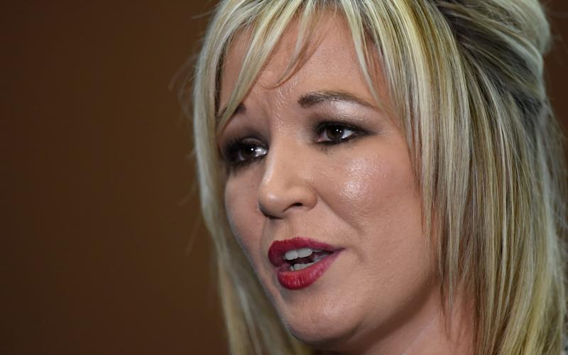 Newly elected Sinn Fein leader Michelle O'Neill speaks to media at the count centre in Ballymena - Credit: Reuters