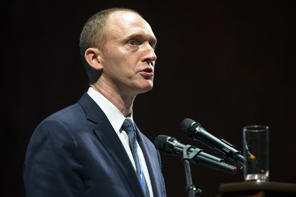 Carter Page, then an adviser to presidential candidate Donald Trump, speaks at the graduation ceremony for the New Economic School in Moscow in July 2016. (AP Photo/Pavel Golovkin)