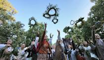 Lithuania was the last nation in Europe to be converted to Christianity at the end of the 14th century and many people are still deeply attached to pagan customs (AFP Photo/Petras Malukas)