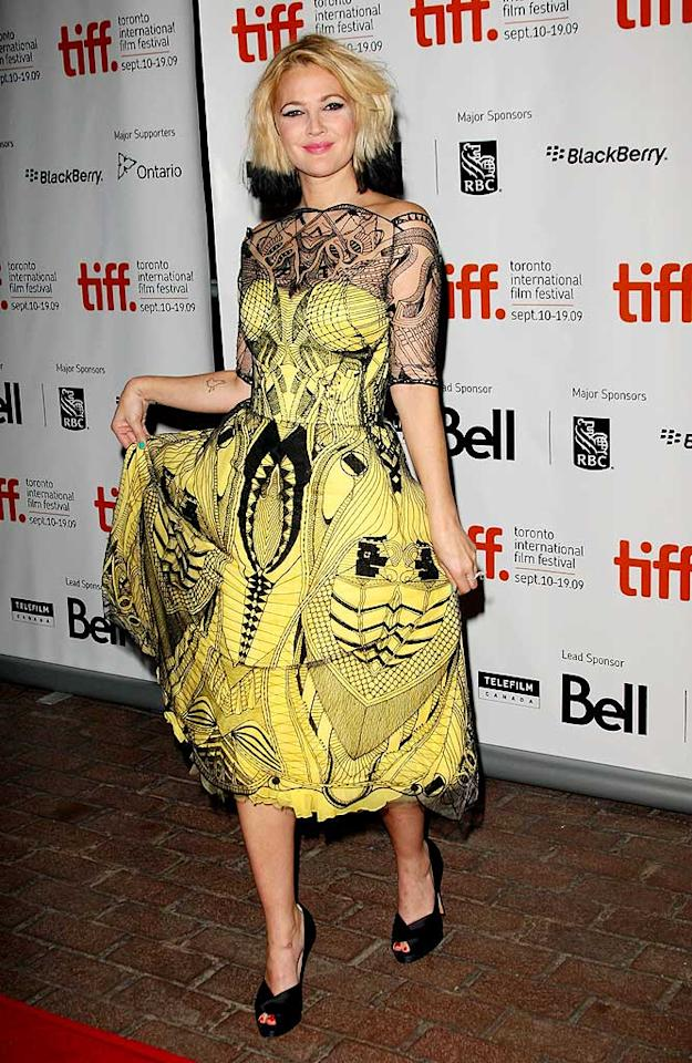 "We love Drew, and she can pretty much wear anything and get away with it because of her unique sense of style, but pairing her dip-dyed 'do with this freaky Alexander McQueen frock was a faux pas. Jason Merritt/<a href=""http://www.gettyimages.com/"" target=""new"">GettyImages.com</a> - September 13, 2009"