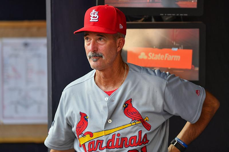 ATLANTA, GA OCTOBER 04: St. Louis Cardinals pitching coach Mike Maddux (31) looks on from the dugout during the National League Division Series game 2 between the St. Louis Cardinals and the Atlanta Braves on October 4th, 2019 at SunTrust Park in Atlanta, GA. (Photo by Rich von Biberstein/Icon Sportswire via Getty Images)