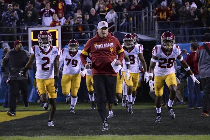 FILE - In this Friday, Dec. 27, 2019, file photo, Southern California head coach Clay Helton, center, leads his players onto the field before the Holiday Bowl NCAA college football game against Iowa, in San Diego. Helton is 40-22 in four full seasons as USC coach. (AP Photo/Orlando Ramirez, File)