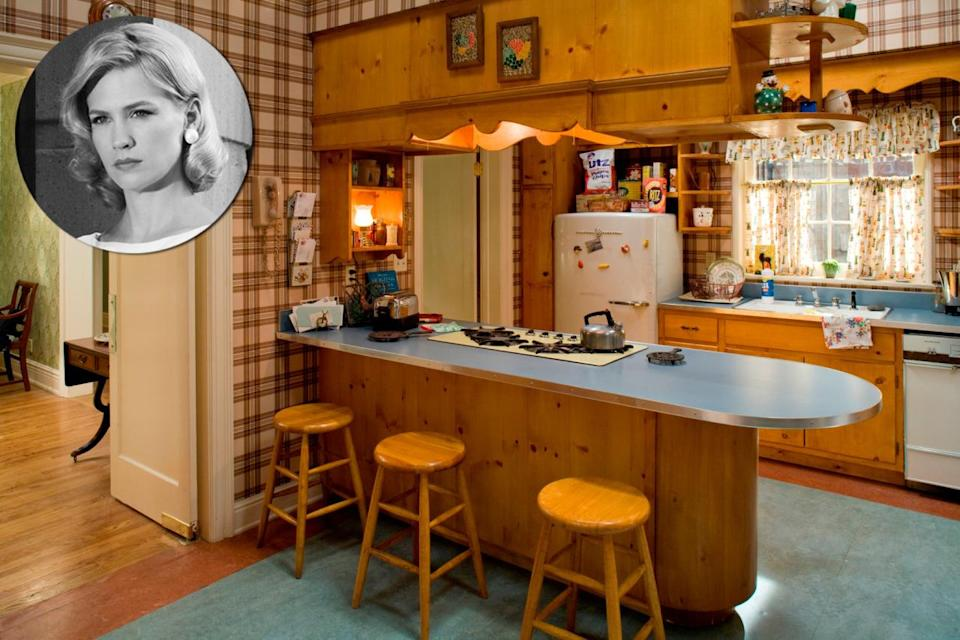 """<p><b>Meyer:</b> """"The <i>Mad Men </i>sets were amazing—they nailed the period. The Ossining house had contemporary furniture like <a href=""""http://www.knoll.com/"""" rel=""""nofollow noopener"""" target=""""_blank"""" data-ylk=""""slk:Knoll"""" class=""""link rapid-noclick-resp"""">Knoll</a> and <a href=""""http://www.hermanmiller.com/"""" rel=""""nofollow noopener"""" target=""""_blank"""" data-ylk=""""slk:Herman Miller"""" class=""""link rapid-noclick-resp"""">Herman Miller</a> but also classic elements, like the pineboard, plaid wallpaper and pullback curtains in the kitchen. The city apartment looks like it was based on the Saarinen-designed <a href=""""http://www.imamuseum.org/visit/miller-house"""" rel=""""nofollow noopener"""" target=""""_blank"""" data-ylk=""""slk:Miller House"""" class=""""link rapid-noclick-resp"""">Miller House</a> in Indiana. It's even got a sunken living room. It reminds me of the set on [the sixties sitcom] <i><a href=""""https://www.youtube.com/watch?v=sZFW4PSliaE"""" rel=""""nofollow noopener"""" target=""""_blank"""" data-ylk=""""slk:Family Affair"""" class=""""link rapid-noclick-resp"""">Family Affair</a>.</i>""""<i>Photo: Courtesy of AMC</i></p>"""