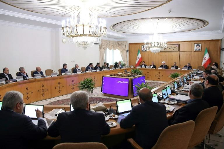Iran's President Hassan Rouhani (back-C) chairing a cabinet meeting in the capital Tehran last week (AFP Photo/HO)