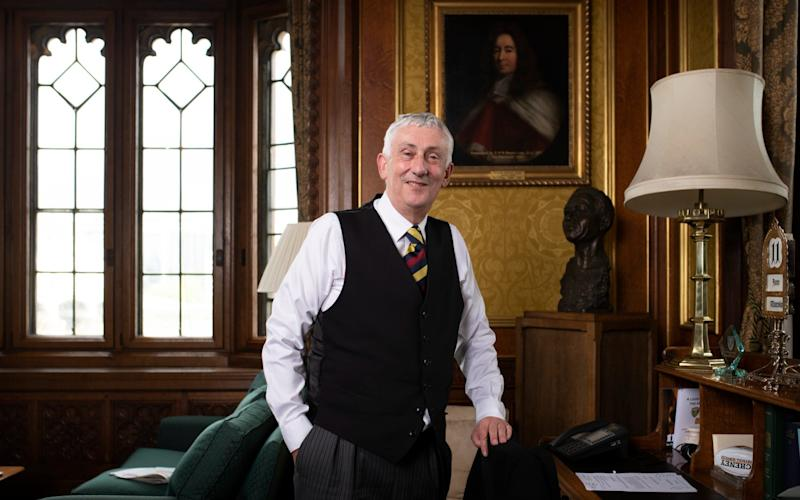 Lindsay Hoyle, Speaker of the House of Commons in his office - Sir Lindsay Hoyle calls for review of Parliament's statues and paintings after Black Lives Matter protests - GEOFF PUGH