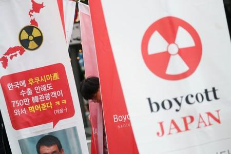 A South Korean man attends an anti-Japan rally near the Japanese embassy in Seoul