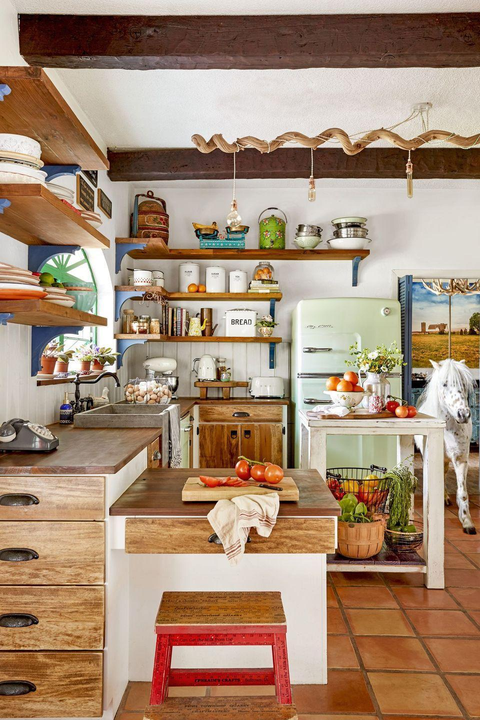 "<p>With stainless steel on the way out, color is making a big comeback. Take a cue from <a href=""https://www.countryliving.com/home-design/house-tours/g20888955/florida-home-horse-farm/"" rel=""nofollow noopener"" target=""_blank"" data-ylk=""slk:this homeowner's lively kitchen"" class=""link rapid-noclick-resp"">this homeowner's lively kitchen</a>, which features a retro-inspired <a href=""https://www.countryliving.com/home-design/color/g19811170/mint-green-home-decor/"" rel=""nofollow noopener"" target=""_blank"" data-ylk=""slk:mint green"" class=""link rapid-noclick-resp"">mint green</a> refrigerator and dishwasher, plus a series of Smeg countertop appliances.</p><p><a class=""link rapid-noclick-resp"" href=""https://www.amazon.com/Appliances-Smeg/s?rh=n%3A2619525011%2Cp_4%3ASmeg&page=3&tag=syn-yahoo-20&ascsubtag=%5Bartid%7C10050.g.3988%5Bsrc%7Cyahoo-us"" rel=""nofollow noopener"" target=""_blank"" data-ylk=""slk:SHOP COLORFUL APPLIANCES"">SHOP COLORFUL APPLIANCES</a></p>"
