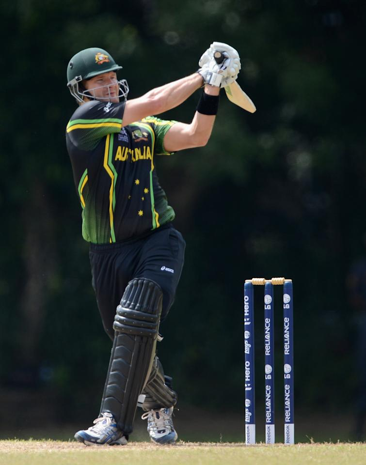 COLOMBO, SRI LANKA - SEPTEMBER 15:  Shane Watson of Australia bats during the T20 World Cup Warm Up Match between Australia and New Zealand at Nondescripts Cricket Club on September 15, 2012 in Colombo, Sri Lanka.  (Photo by Gareth Copley/Getty Images,)