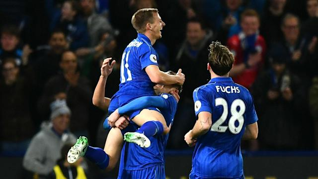 Goals from Jamie Vardy and Islam Slimani earned Leicester a 2-0 win over Sunderland - their fifth straight Premier League victory.