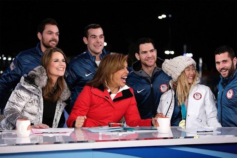 <em>Today </em>show co-anchors Savannah Guthrie and Hoda Kotba (first and second from left, seated) with some of their Olympic guests during Tuesday's broadcast from Pyeongchang, South Korea