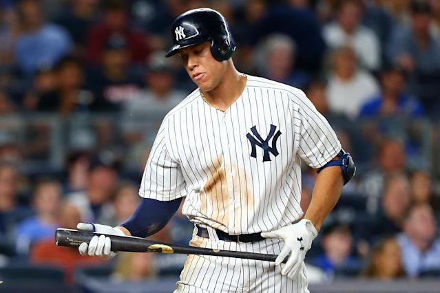 "<a class=""link rapid-noclick-resp"" href=""/mlb/players/9877/"" data-ylk=""slk:Aaron Judge"">Aaron Judge</a> of the New York Yankees has been striking out more and more after his hot first half of the season. (Photo by Mike Stobe/Getty Images)"