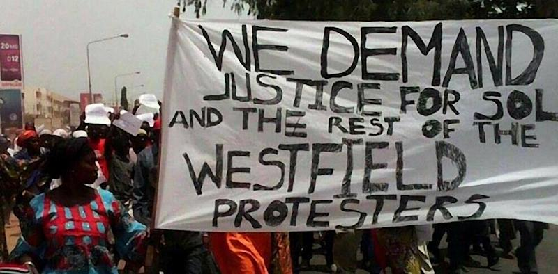 People demonstrate in Banjul following the death in custody of a senior figure in Gambia's main opposition (AFP Photo/)