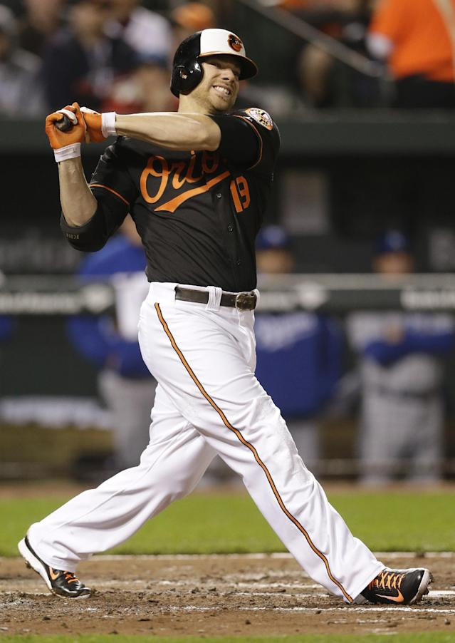 Baltimore Orioles' Chris Davis winces as he swings in the third inning of a baseball game against the Kansas City Royals, Friday, April 25, 2014, in Baltimore. Davis left the game and was diagnosed with a left oblique strain. (AP Photo/Patrick Semansky)