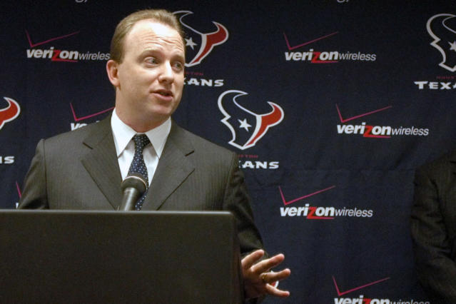 FILE - In this Nov. 24, 2003, file photo, Will Wilson, then-marketing director for NFL Mexico, speaks at a press conference in Houston. Wilson, the head of the NFL division of the Wasserman Media Group and the uncle of former Indianapolis quarterback Andrew Luck, was hired Monday, March 23, 2020, as chief executive officer of the troubled U.S. Soccer Federation. (AP Photo/Pat Sullivan, File)