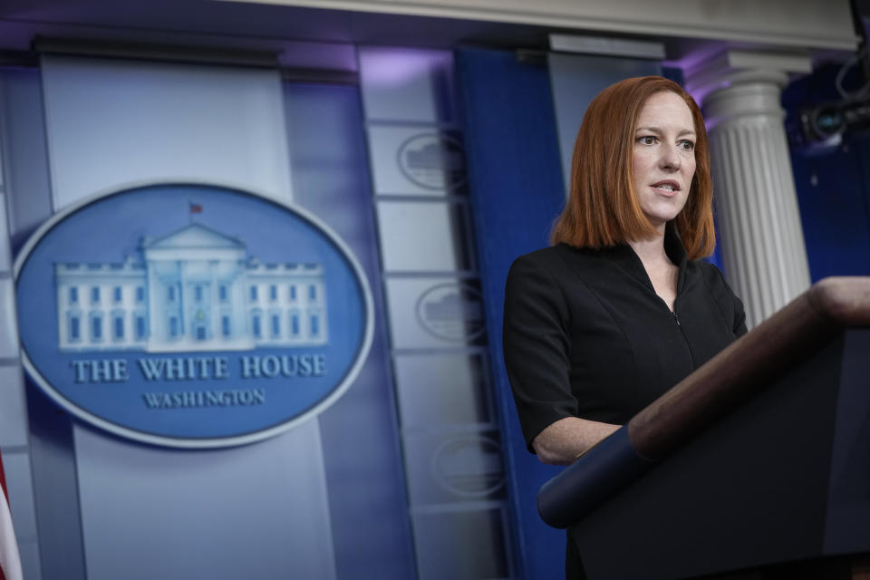 White House Press Secretary Jen Psaki speaks during the daily press briefing at the White House on March 30, 2021 in Washington, DC. (Drew Angerer/Getty Images)