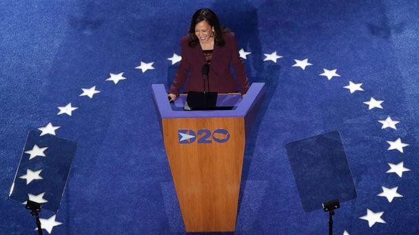 PHOTO: Democratic vice presidential nominee Sen. Kamala Harris speaks on the third night of the Democratic National Convention from the Chase Center, Aug. 19, 2020, in Wilmington, Del. (Win McNamee/Getty Images)