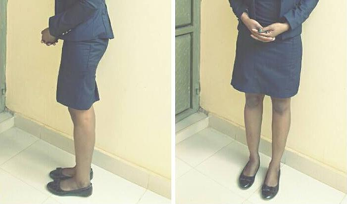 Two waist-down images of Joaninne Nanyange in a skirt.