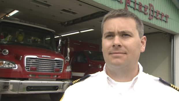 Jesse Brine, the chief of the Shinimicas District Fire Department, says his department expects the new facility to be open in a year.  (Paul Palmeter/CBC - image credit)
