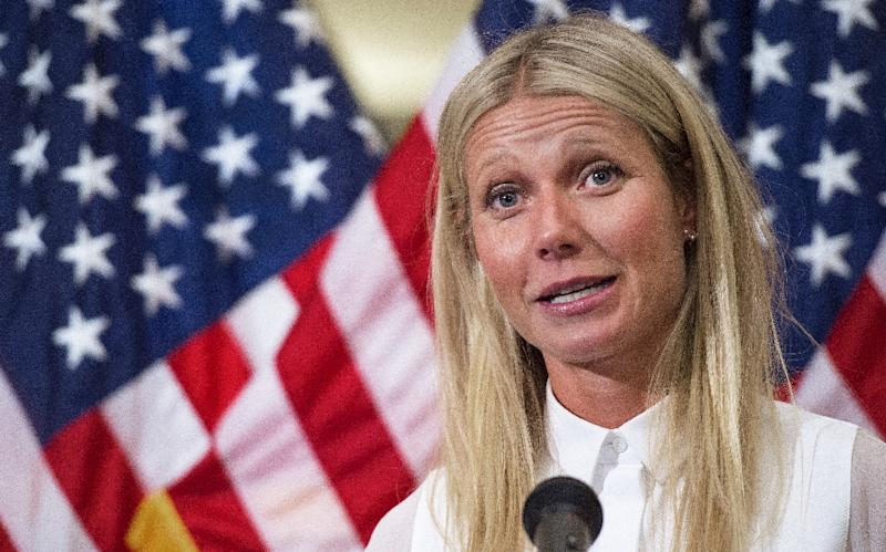 Academy award-winning actress Gwyneth Paltrow delivers remarks regarding GMO labeling and her opposition to the Safe and Accurate Food Labeling Act of 2015, during a press conference on August 5, 2015, in Washington, DC (AFP Photo/Paul J. Richards)