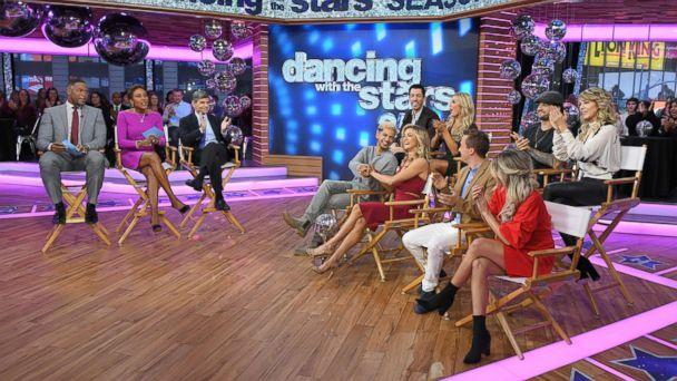 PHOTO: Fisher and the remaining contestants -- Lindsey Stirling and Mark Ballas, Frankie Muniz and Witney Carson and Drew Scott and Emma Slater -- all traveled from Los Angeles overnight to join 'GMA' in Times Square. (Lorenzo Bevilaqua/ABC)