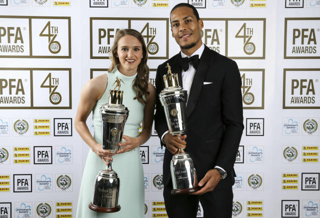 Dutch duo Vivianne Miedema and Virgil van Dijk with their POTY awards. (PA via AP)