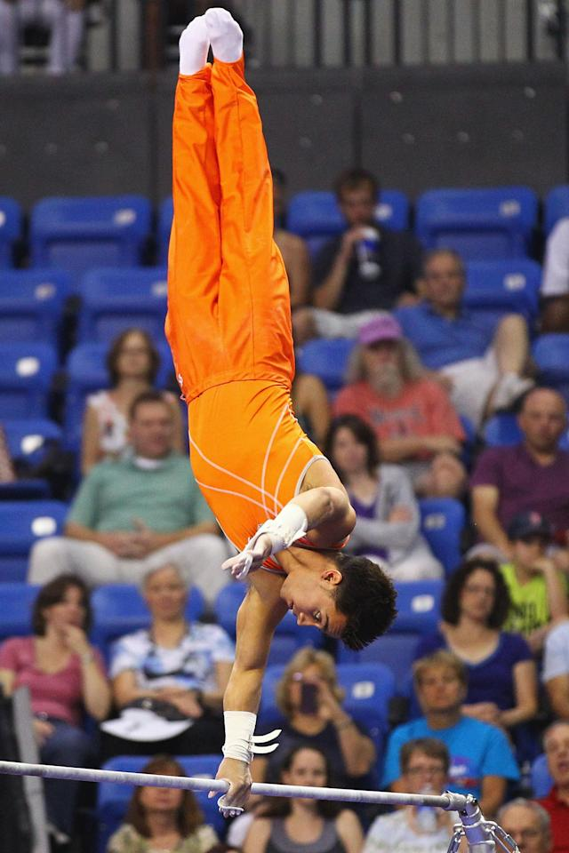 ST. LOUIS, MO - JUNE 9: C.J. Maestas competes on the high bar during the Senior Men's competition on Day Three of the Visa Championships at Chaifetz Arena on June 9, 2012 in St. Louis, Missouri. (Photo by Dilip Vishwanat/Getty Images)