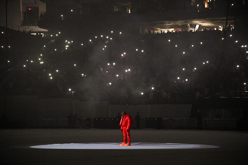 Kanye West at the 'Donda' listening event at Mercedes-Benz Stadium in Atlanta on July 22nd - Credit: Kevin Mazur/Getty Images