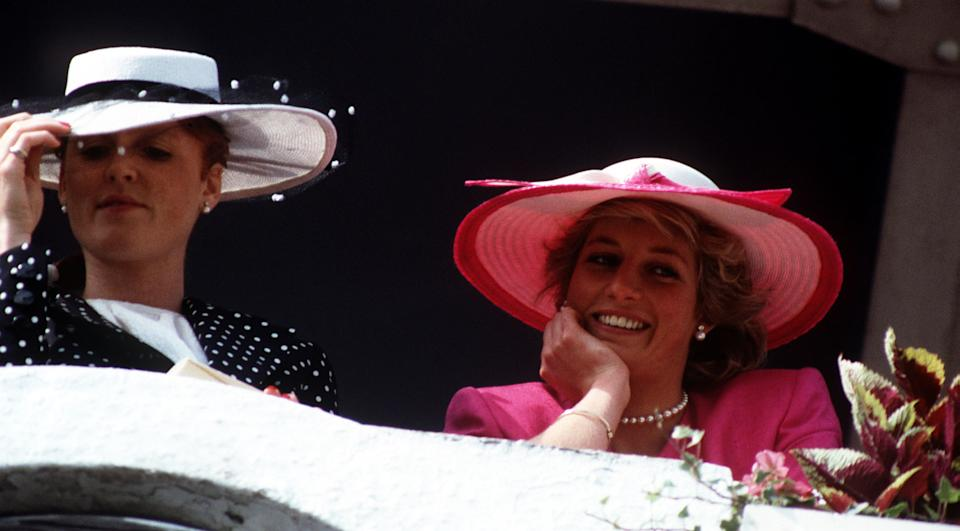 Sarah, Duchess of York, and Diana, Princess of Wales, in the royal box at Epsom in 1987. (PA)