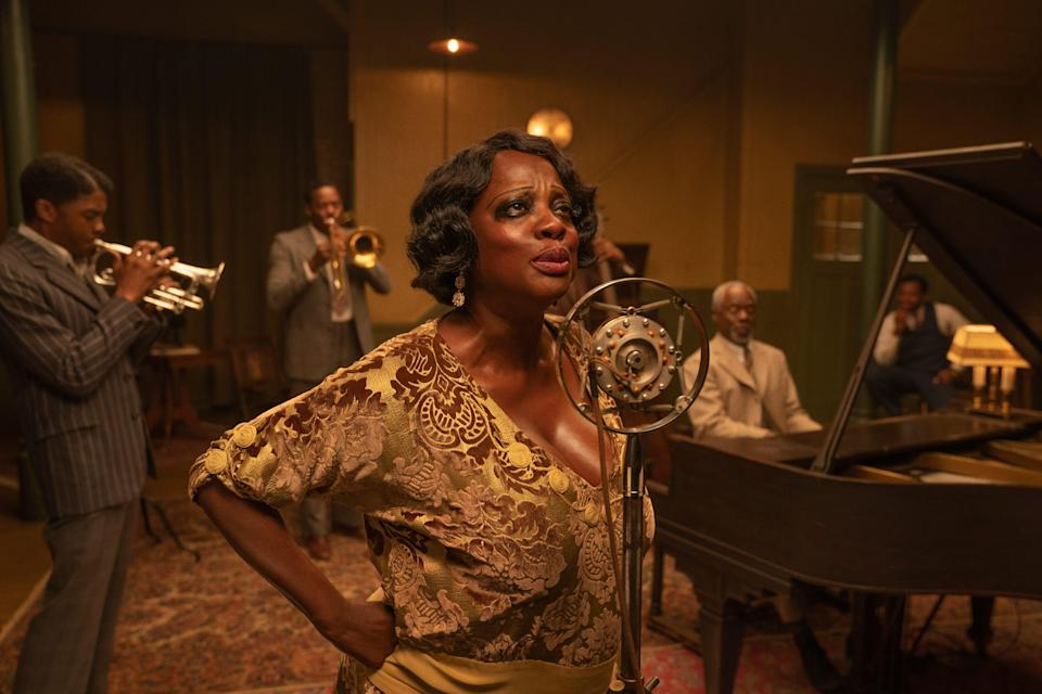 "Chadwick Boseman as Levee, Colman Domingo as Cutler, Viola Davis as Ma Rainey, Glynn Turman as Toledo and Dusan Brown as Sylvester in this exclusive image from Netflix's ""Ma Rainey's Black Bottom."""
