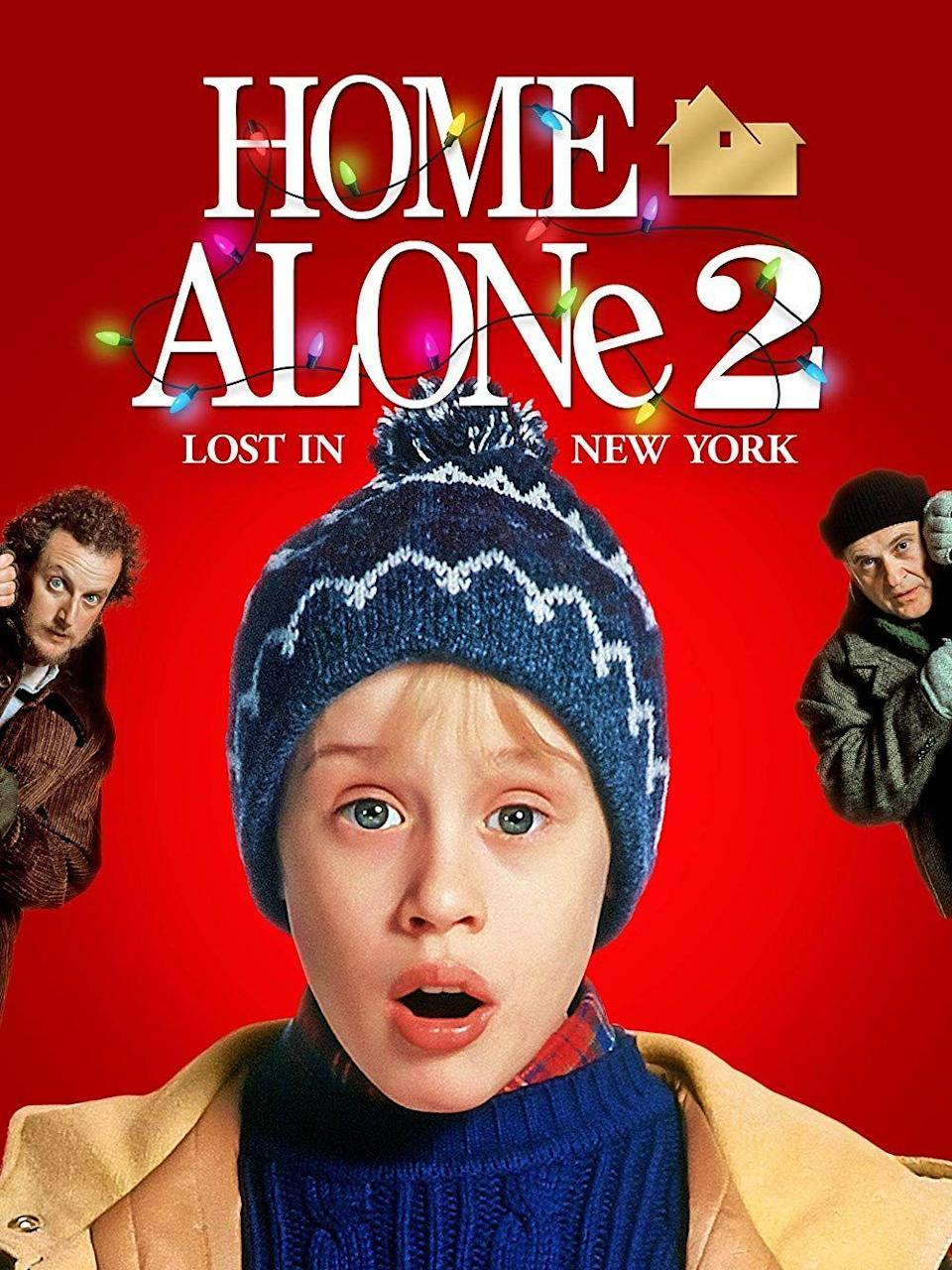 """<p>Kevin McCallister's family manages to leave him behind yet again in <em>Home Alone 2</em> ... and this time around he ends up in New York City, where he manages to outwit the Wet Bandits once more. This nostalgic movie will make you want to return home for the holidays.</p><p><a class=""""link rapid-noclick-resp"""" href=""""https://www.amazon.com/Home-Alone-Lost-New-York/dp/B00AGH54XK/?tag=syn-yahoo-20&ascsubtag=%5Bartid%7C10055.g.1315%5Bsrc%7Cyahoo-us"""" rel=""""nofollow noopener"""" target=""""_blank"""" data-ylk=""""slk:WATCH NOW"""">WATCH NOW</a></p>"""