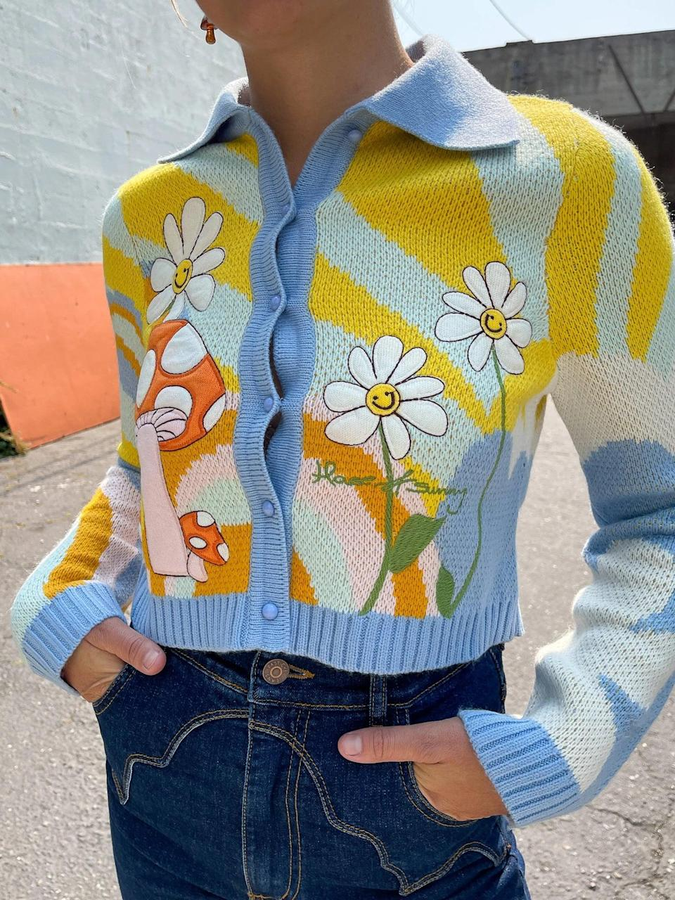 <p>This <span>House of Sunny Big Bloom Cardigan</span> ($154) will make a statement in the most playful way. The flower and mushroom motifs look hand-drawn, and we're also sold on the painting-like look.</p>