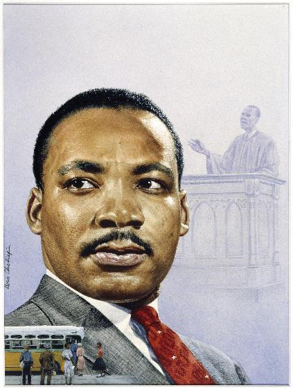 """This undated handout image provided by the National Portrait Gallery shows a Watercolor and pencil, done in 1957 by Boris Chaliapin of Rev. Martin Luther King Jr., which is the original artwork for Time magazine's cover in 1957 when King was elevated to the national spotlight and when he was Time's """"Man of the Year"""" for 1963, part of an exhibit at the National Portrait Gallery in Washington focusing on more than 150 years of African-American history from slavery to civil rights and contemporary suburban life. (AP Photo/National Portrait Gallery)"""