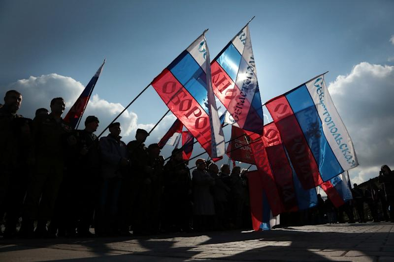 People celebrate the third anniversary of the annexation of Crimea by the Russian Federation in Sevastopol in 2017