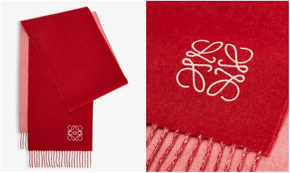 LOEWE Anagram-embroidered wool and cashmere-blend scarf