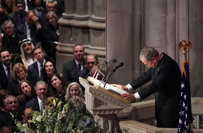 Former President George W. Bush speaks during the funeral service for former President George H.W. Bush at the National Cathedral in Washington, D.C., on Dec. 5, 2018. (Photo: Mandel Ngan/AFP/Getty Images)