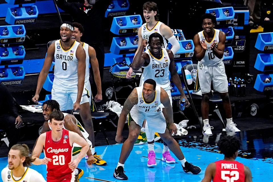 Baylor's bench celebrates its Final Four win over Houston.