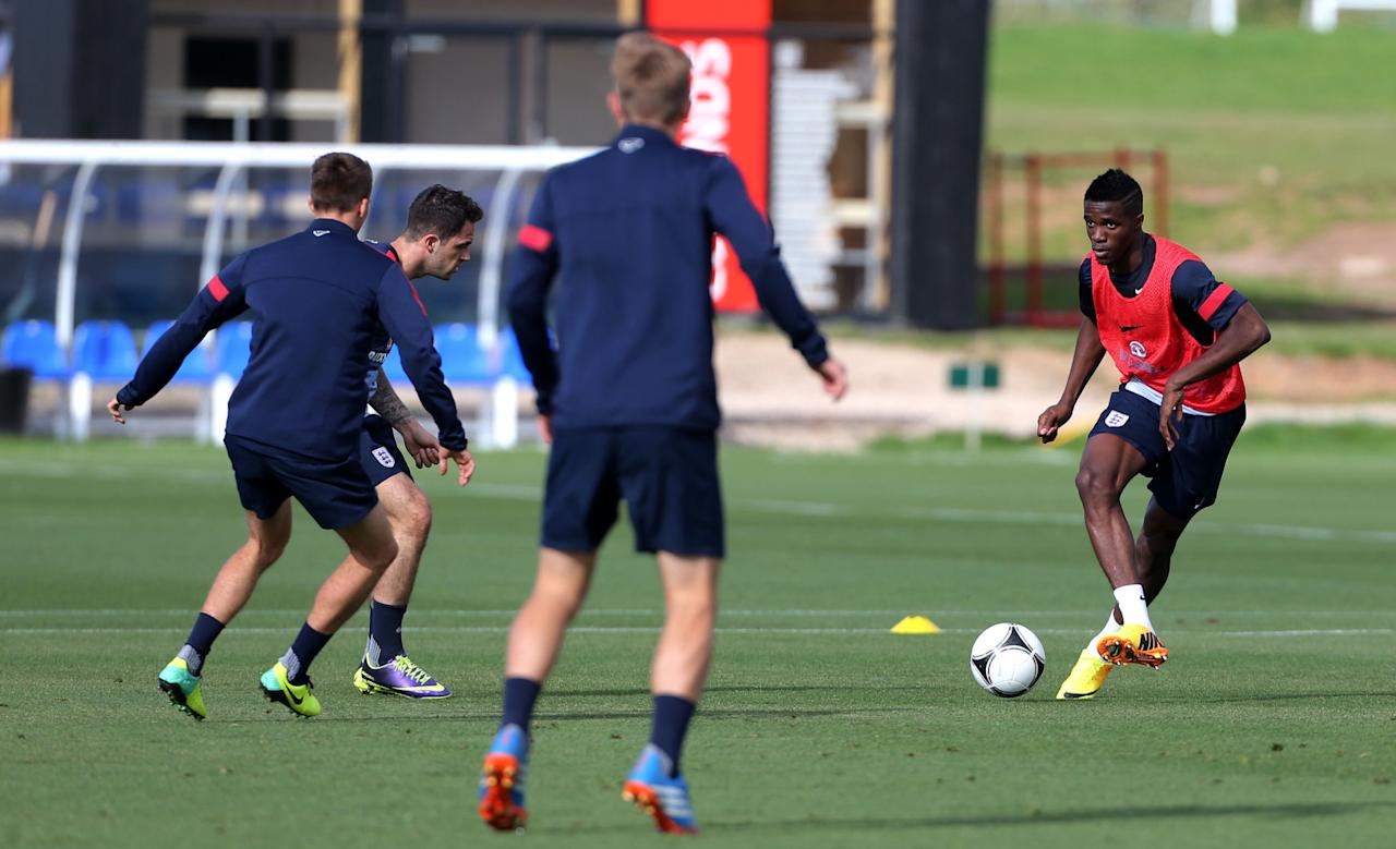 England's U21 players Wilfried Zaha on the ball, during a training session at St George's Park, Burton.